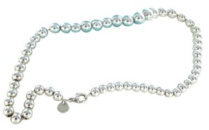 Tiffany & Co. TIFFANY & CO. STERLING SILVER PEARL BEAD NECKLACE NO SCRAP DESIGNER POUCH + BOX