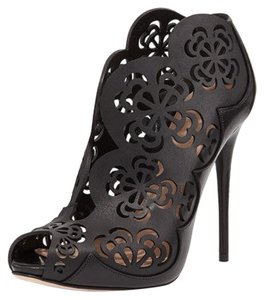 Alexander McQueen Leather Laser Cutouts Black Boots