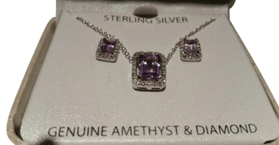 51d9dcc2441a1 Victoria Townsend Purple Silver Set Genuine Amethyst & Diamond Accent with  Stud Earrings. Necklace 86% off retail