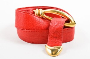 Donna Karan Donna Karan Red Gold Tone Leather Abstract Oval Loop Statement Buckle M-l