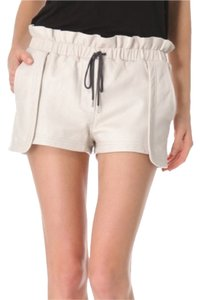 Rebecca Minkoff Lambskin Leather Dress Shorts Cream