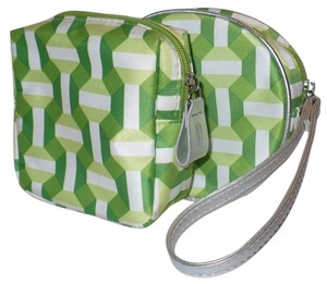 Clinique Set of 2 Green Geometric Print Cosmetic Bags + BONUS Travel Mini Brush Set