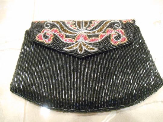 Other Evening Beaded Black Red Gold Bronze Clutch
