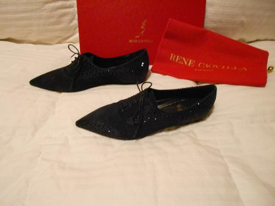 Rene Caovilla Swarovski Crystals Elegant Style Hidden Wedge Rich Color Made In Italy Blue Flats Image 2