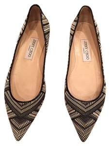 Jimmy Choo Woven Pointed Toe Black and White Flats