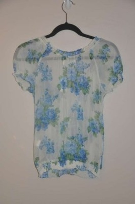 Abercrombie & Fitch Top White Blue and Green