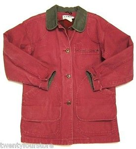 L.L.Bean Vintage Womens Barn Jacket Canvas Flannel Lined Petite Coat