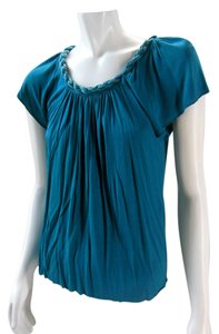 Matty M Rayon Silk Flutter Peasant Top Teal Blue