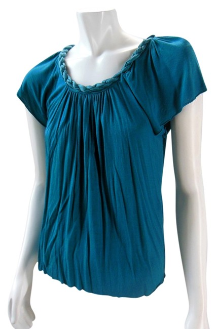 Matty M Rayon Silk Flutter Peasant Boho Relaxed Loose Top Teal Blue