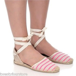 Soludos Smoking Slipper Sandals Espadrille Neon Stripe Pink Flats