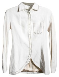 Dior White Fabric Button Up Beige Blazer