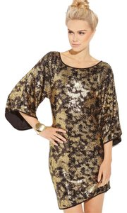 Abi Ferrin Sequin Three-quarter Bell Sleeves Asymmetrical Hem Stretch Fit Dress