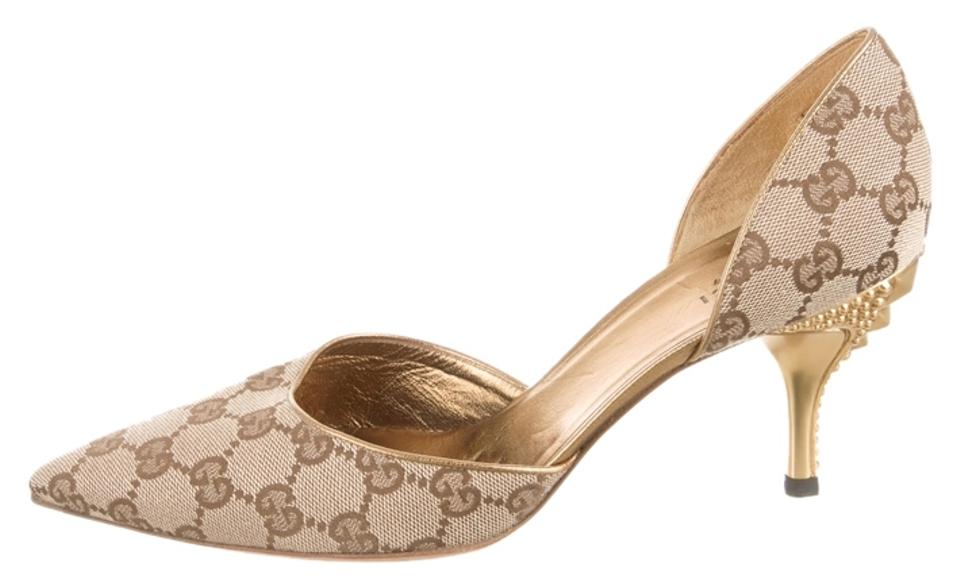 2be17b185a7a Gucci Beige Gold Gg Canvas D orsay Pumps Size US 8.5 Regular (M