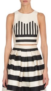 Tibi Crop Formal Striped Sleeveless Silk Top Cream/Black