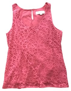 Ann Taylor LOFT Lace Cotton Casual Date Night Top Red
