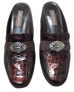 Brighton Faux Croc Leather Suede Embellished Box Chocolate Mules