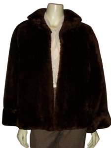 Vtg 1950s Sanger Brothers Mouton Shearling Fur Chocolate Brown Fur Coat