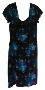 Velvet Floral Knee Length Dress