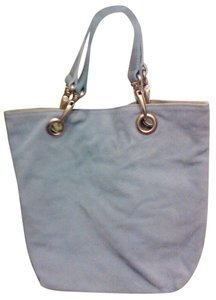 Tanner Made In Italy Leather Handles Silver Hardware Suede Satchel in powder blue