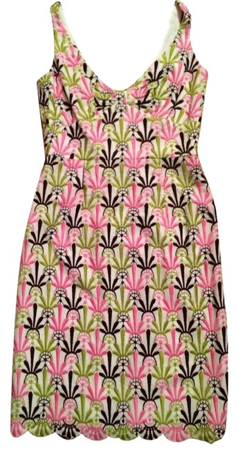 Item - Pink and Green Embroidered Pastel Sleeveless Sheath Short Casual Dress Size 0 (XS)