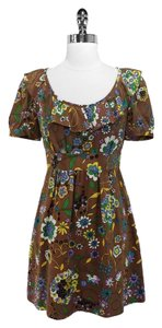 Tibi short dress Brown Floral Print Silk on Tradesy