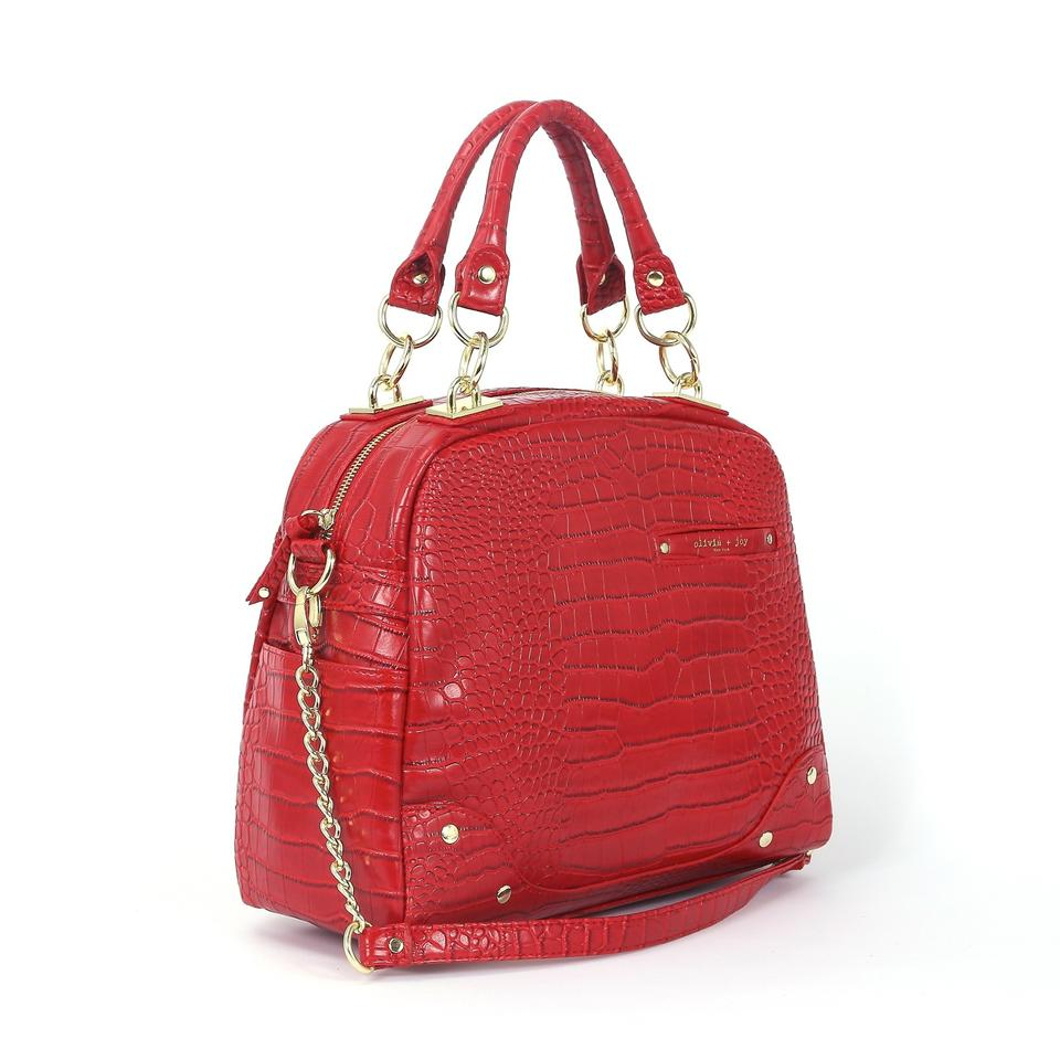 chloe inspired handbags - Olivia + Joy Dynamo - Anaconda Lipstick Red Satchel | Satchels on ...