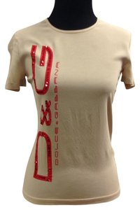 Dolce&Gabbana Designer Signature Dolce Out Date Night Top Nude/Red