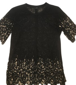 Zara Shirt Lace Sheer Top Black