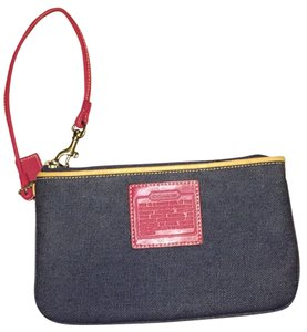 Coach Wristlet in Navy Blue And Pink
