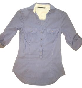 6496be32 Zara Striped Collar Fitted Button Down Shirt Blue, white