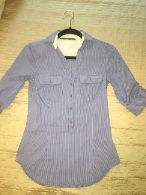 Zara Striped Collar Fitted Button Down Shirt Blue, white Image 1