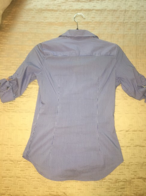 Zara Striped Collar Fitted Button Down Shirt Blue, white Image 2