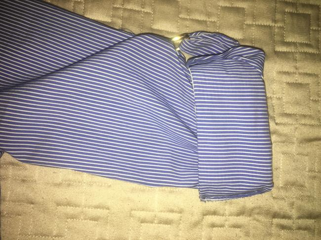 Zara Striped Collar Fitted Button Down Shirt Blue, white Image 3