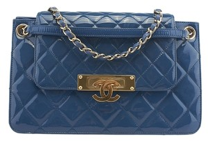 Chanel Patent Leather Accordion Shoulder Bag