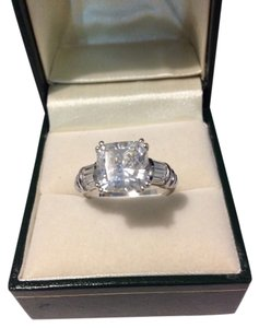 Diamonique DIAMONIQUE Platinum Clad Sterling Silver Asscher Wedding Ring, Size 10, NEW