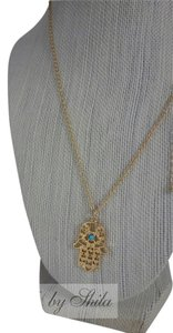 Other Gold plated Hamsa Necklace with Turquoise Stone