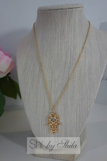 Other Gold plated Hamsa Necklace with Turquoise Stone Image 2