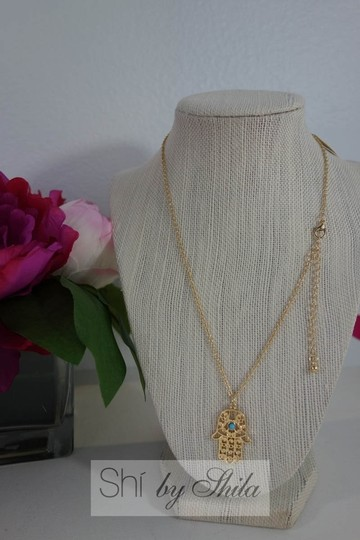 Other Gold plated Hamsa Necklace with Turquoise Stone Image 3