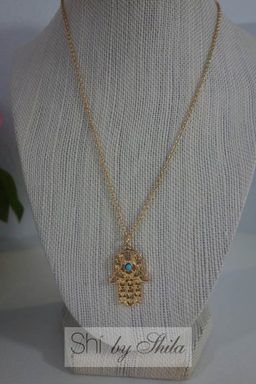 Other Gold plated Hamsa Necklace with Turquoise Stone Image 4