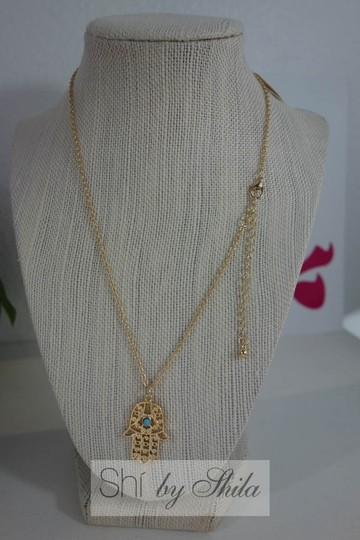 Other Gold plated Hamsa Necklace with Turquoise Stone Image 5