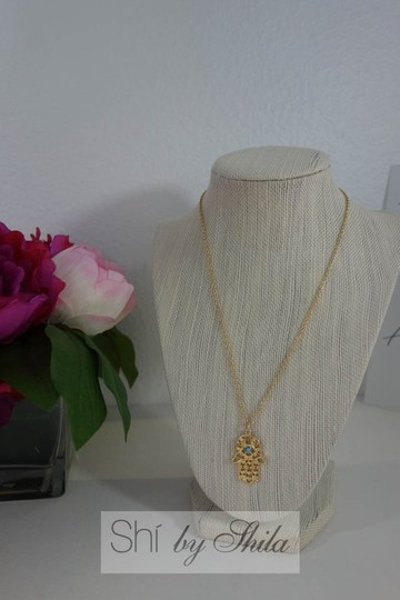 Other Gold plated Hamsa Necklace with Turquoise Stone Image 6