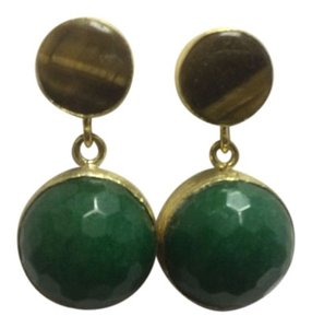 Other Tiger Eye and Green Agate Gold E. Coated Stud Earrings