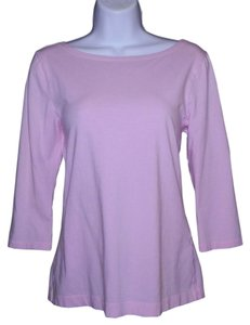 Banana Republic Cotton Scoop Low Back 3/4 Sleeves Machine Washable T Shirt Pink