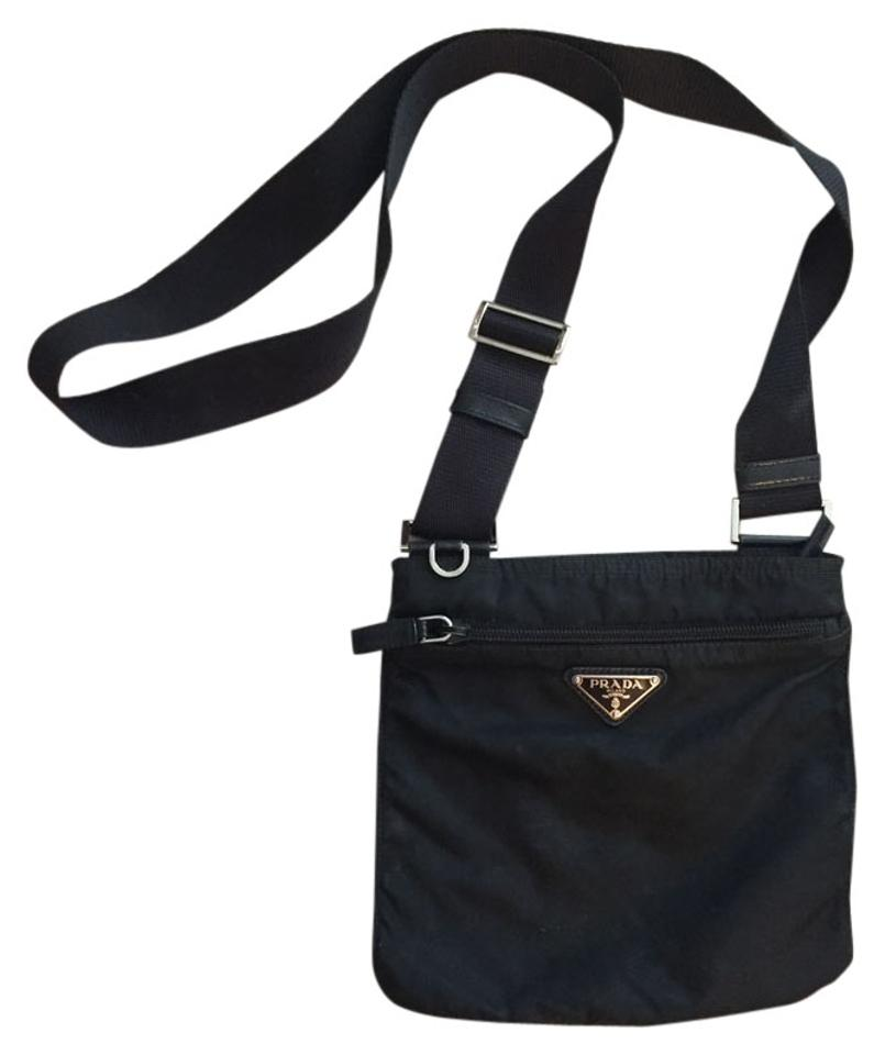 08a2beb99a Prada Vela Flat Black Nylon Cross Body Bag - Tradesy