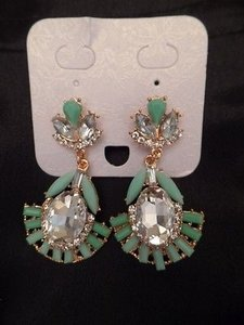 Other Costume Jewelry Earrings Gold Tone Faux Jade Crystal Art Deco Drop Stunning