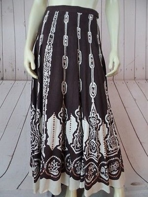 Item - Skirt Long Full Cotton Viscose Flax Circle Sequins Partial Lining Hippie