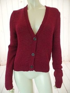 Ralph Lauren Red Cranberry Button Front Cotton Poly Crochet Knit Chic Sweater