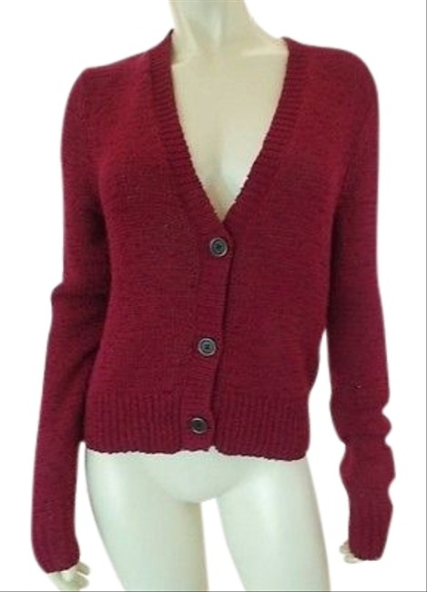 Preload https://img-static.tradesy.com/item/14203471/ralph-lauren-sweater-red-cranberry-button-front-cotton-poly-crochet-knit-chic-0-1-650-650.jpg