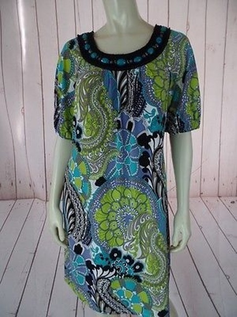 Maggy London short dress Multicolored Poly Spandex Stretch Knit Pullover Floral Chic on Tradesy Image 1