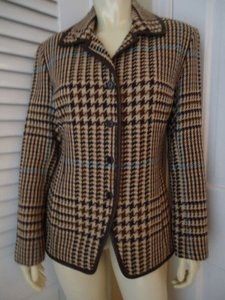 Juliana Collezione Juliana Collezione Blazer Wool Brown Tan Blue Houndstooth Faux Leather Piping